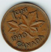 Canada, George VI, One Cent 1940, VF, WB5952